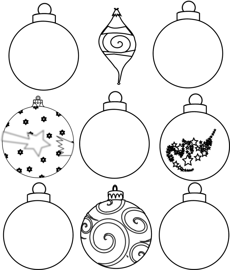 Colour and design your own Christmas ornaments or baubles printable sheet