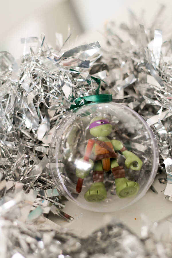 The easiest way to make a TMNT Christmas tree decoration - little character in a clear bauble