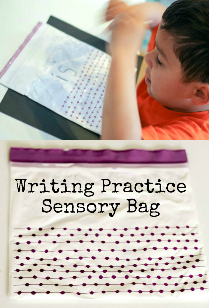 So easy to make - sensory bag to help practise writing letters and words