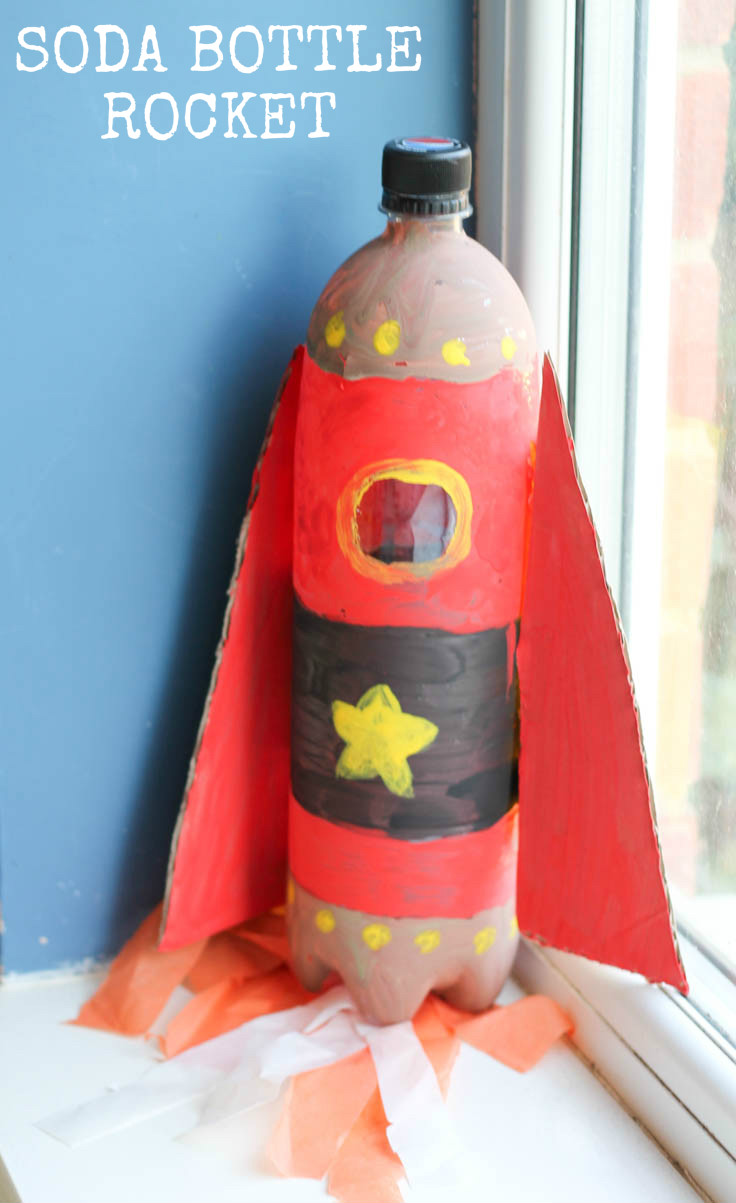 Soda bottle rocket. Fun junk modelling upcycled craft for kids