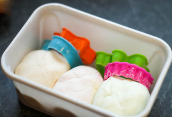 conditioner and cornflour playdough keep in an airtight container