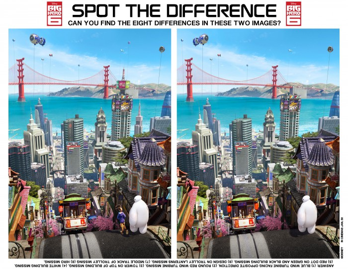 Big Hero 6 themed spot the difference activity printable