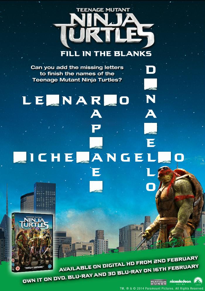Teenage mutant ninja turtles printable activity sheet TMNT fill in the blanks cross word
