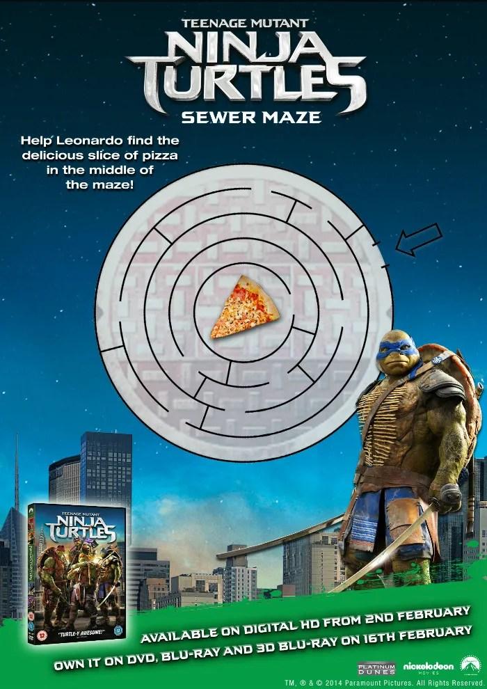 Teenage mutant ninja turtles printable activity sheet TMNT sewer maze