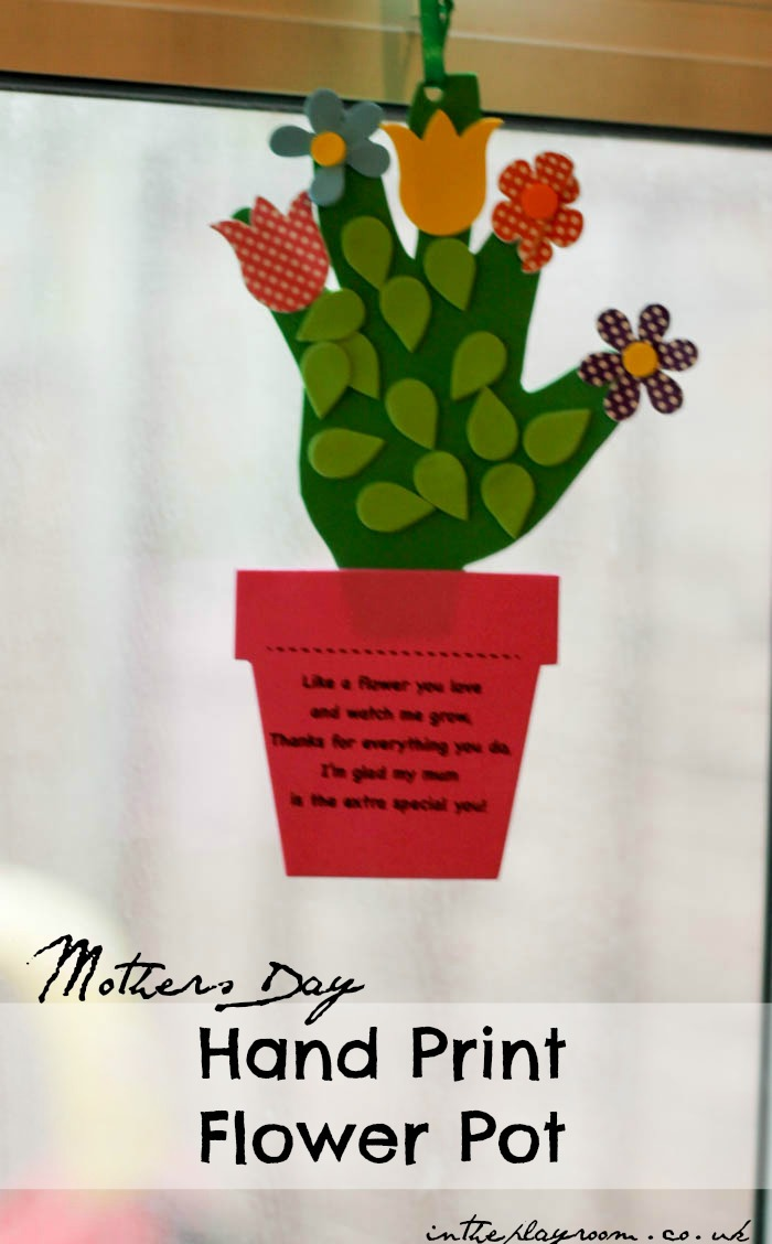 "Handprint flower pot craft for mothers day or any time you want to say ""thank you for helping me grow"""