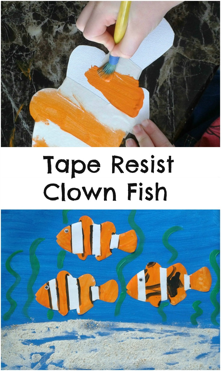 Tape resist clown fish under the sea themed painting activity for kids
