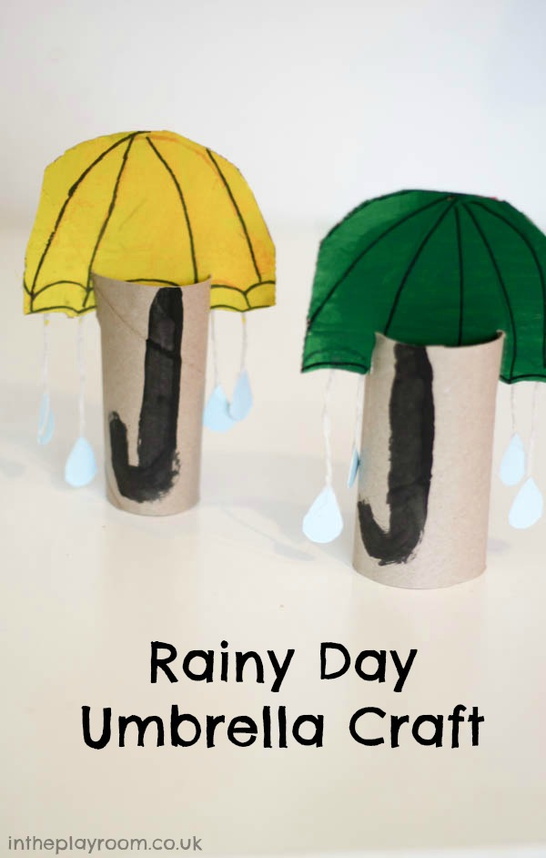 rainy day umbrella craft made from cardboard tubes