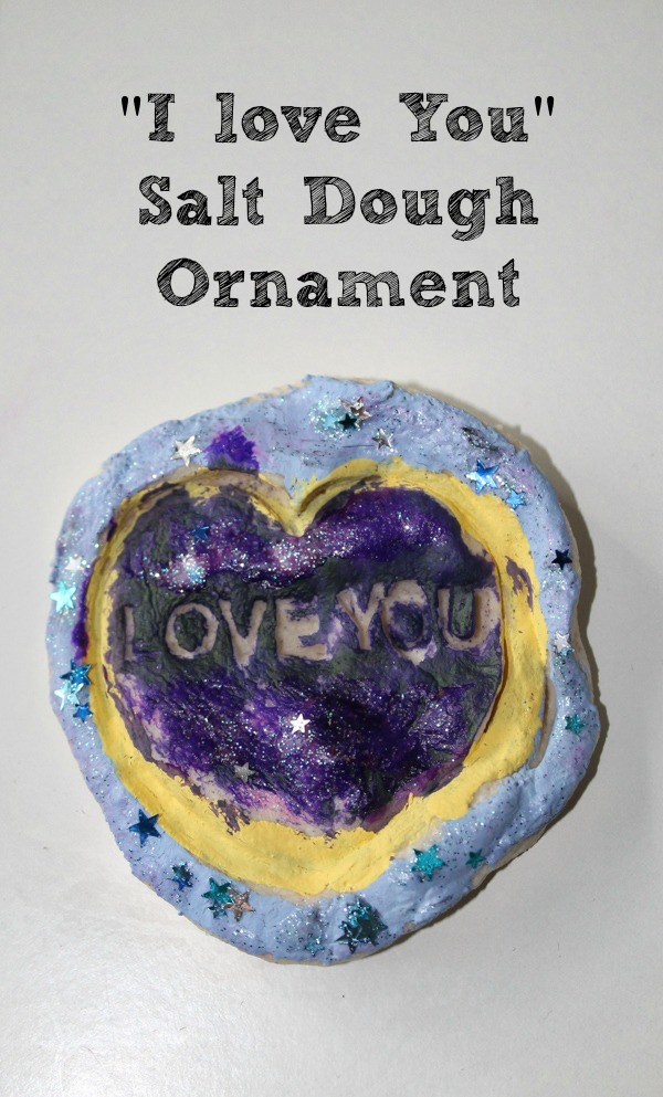 """I love you"" simple salt dough ornament for kids to make for loved ones"