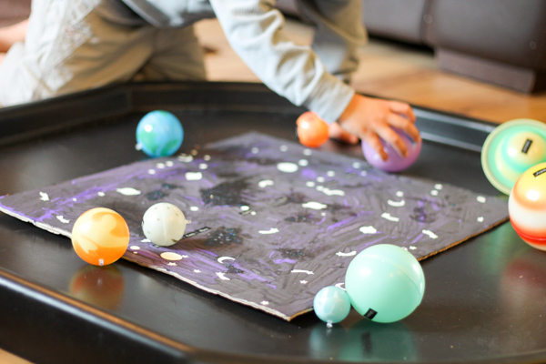 solar system space tuff spot (tuff tray) hands on learning idea