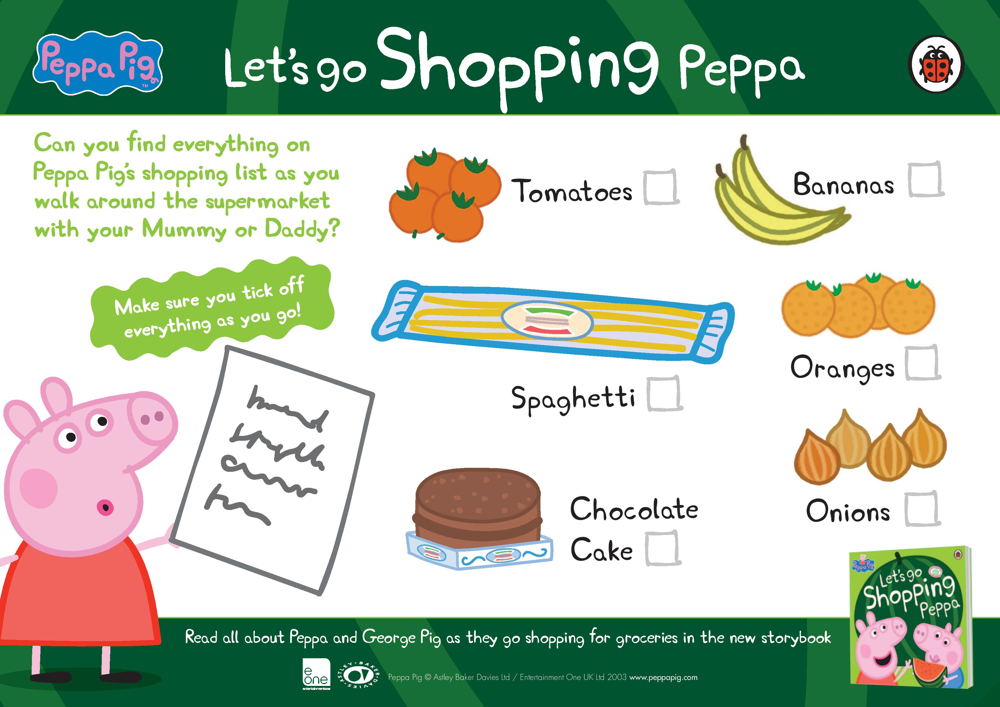 Printable Peppa Pig shopping checklist for kids. Keep them busy while ...