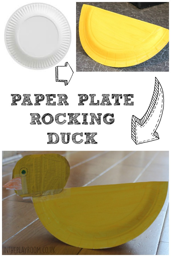 Super easy way to make a paper plate duck craft, with a folded paper plate