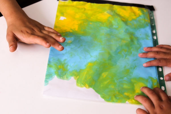 blue and yellow make green colour mixing with paint