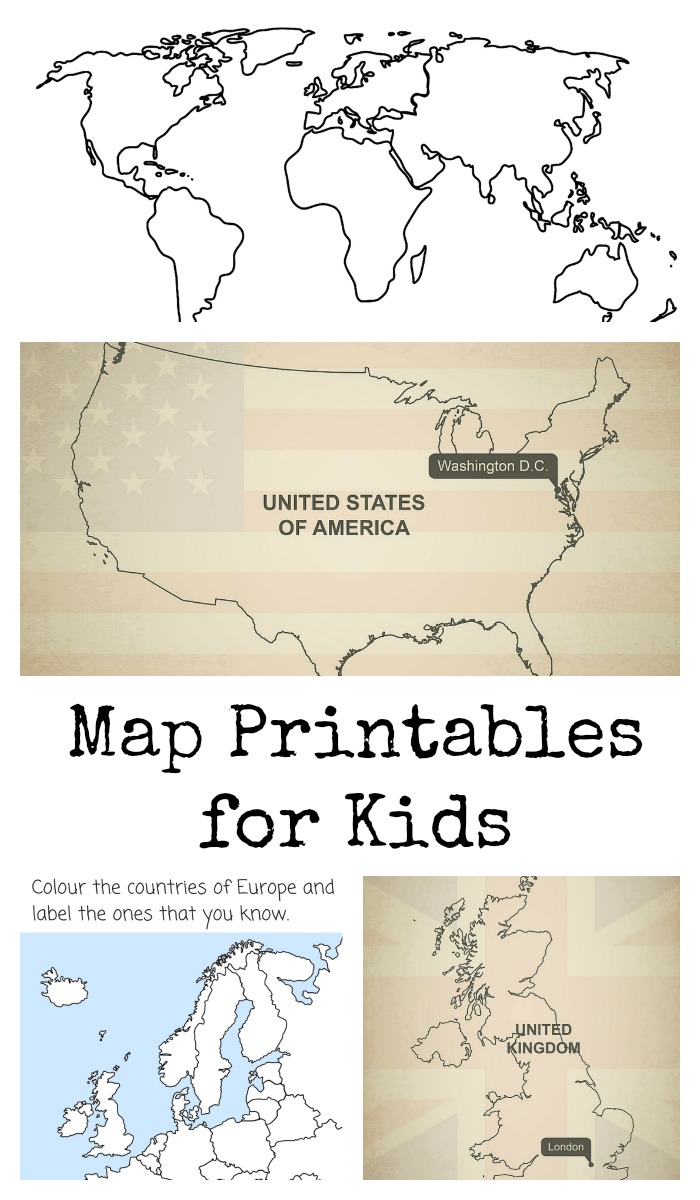 Simplicity image inside printable map for kids