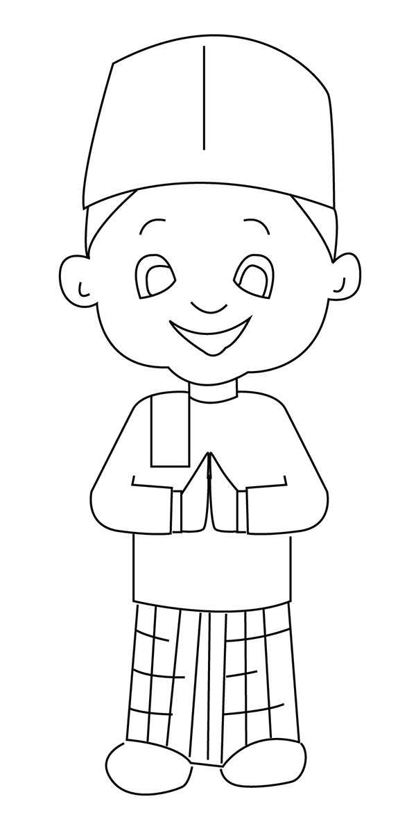 muslim boy colouring page printable