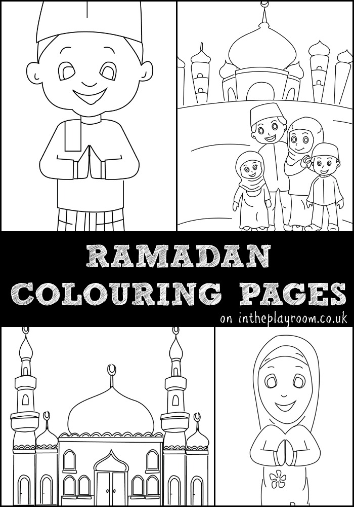 ramadan colouring pages featuring muslim children, muslim family and mosque colouring pages. Free printables