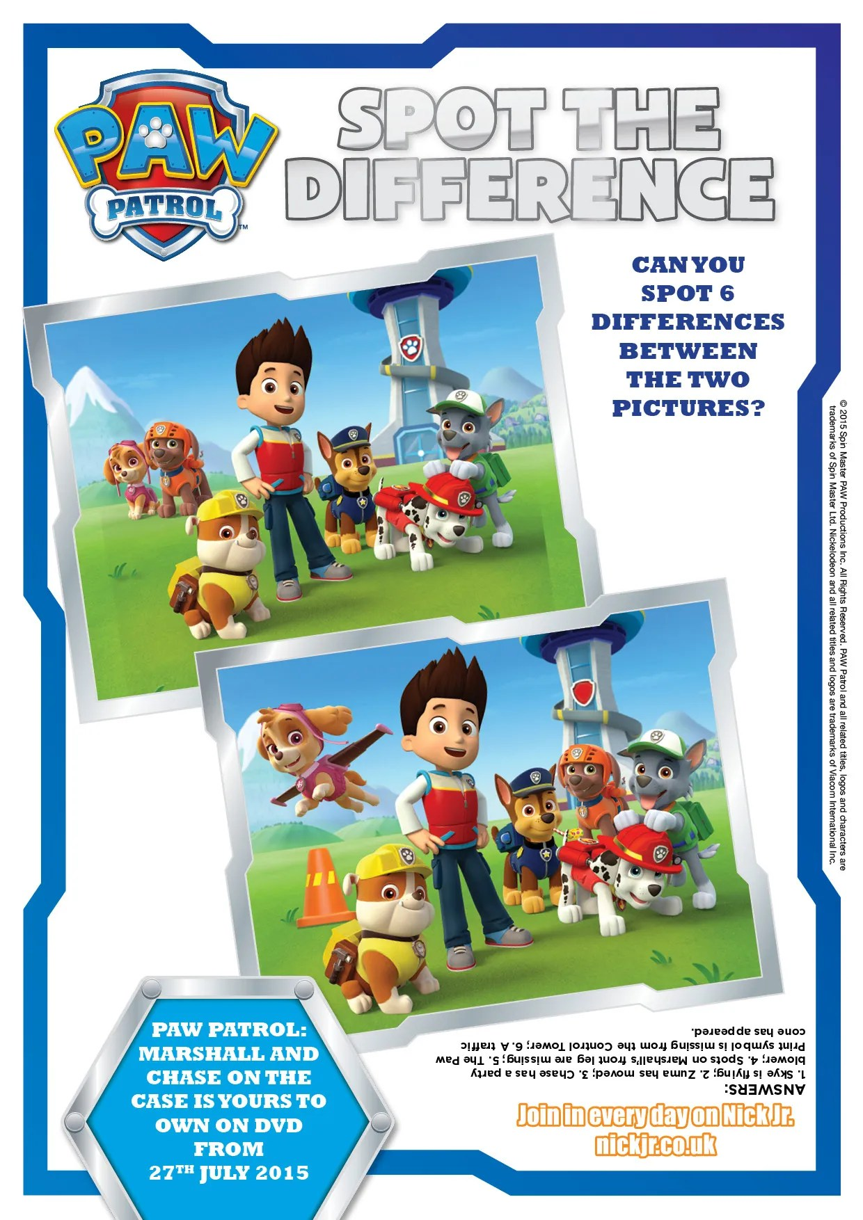 Paw patrol spot the difference activity page printable