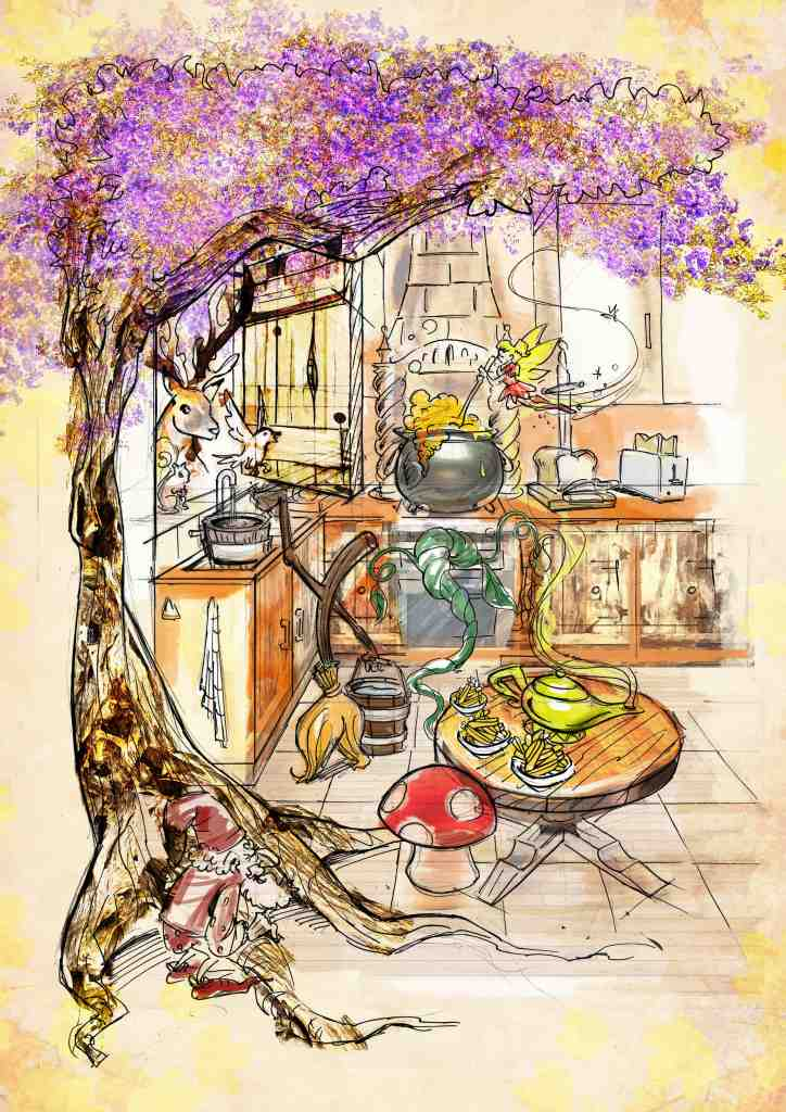 Magical fairytale wonderland in the kitchen, artists impression