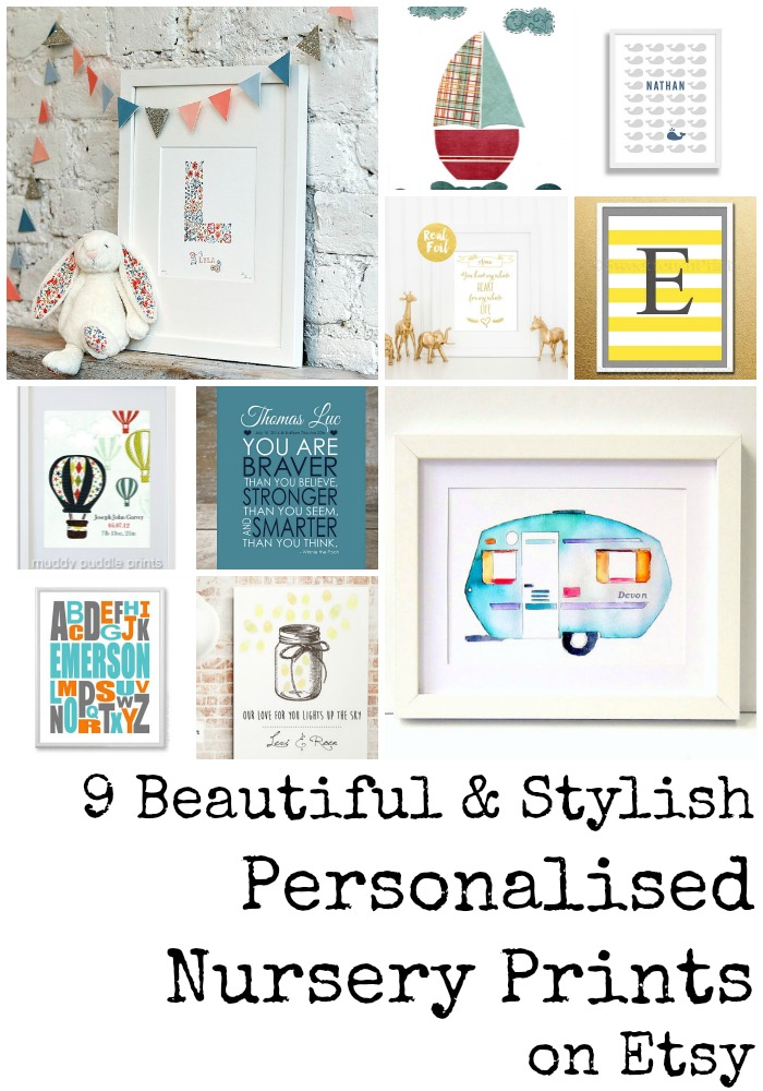 9 beautiful and stylish personalised nursery prints from Etsy. These are all so gorgeous, I can't pick a favourite!