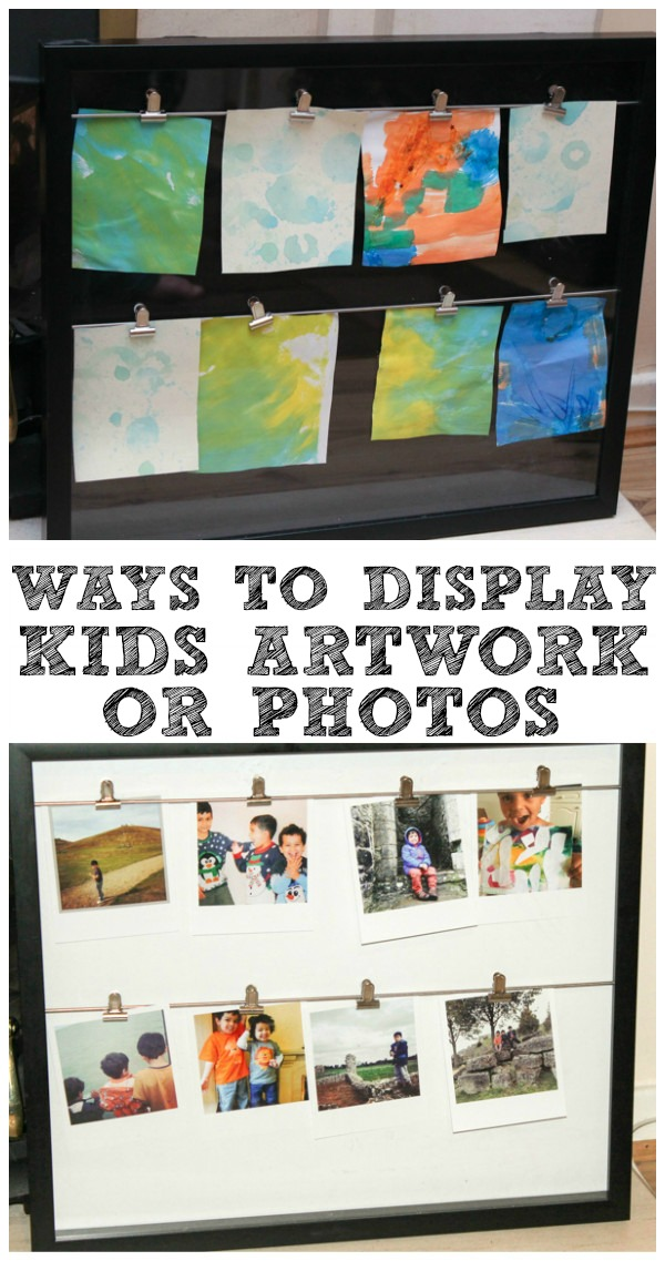 Ways to display kids artwork or photos. This clip line frame is gorgeous