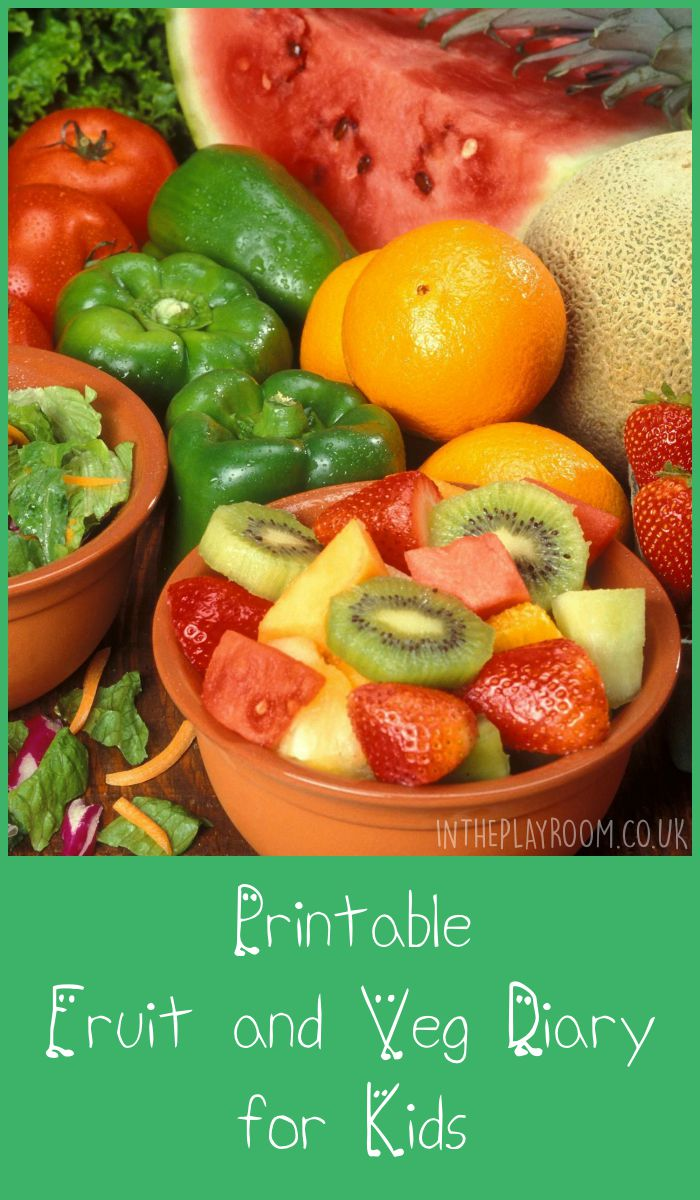Free printable fruit and veg diary for kids. Check off 5 portions a day!