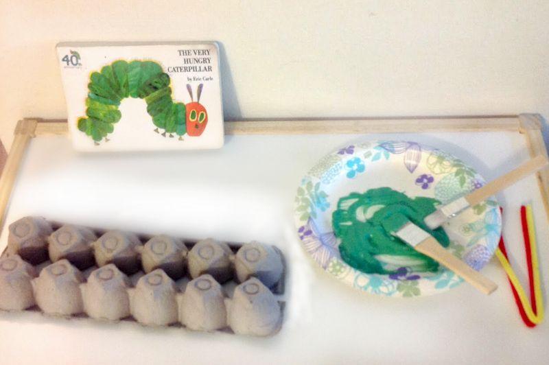 supplies for egg carton caterpillar craft