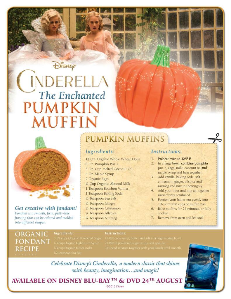 Disney cinderella printable. Enchanted pumpkin muffin recipe great for autumn, halloween time