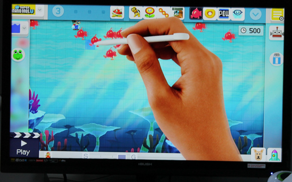 Super Mario Maker on Wii U creating a level