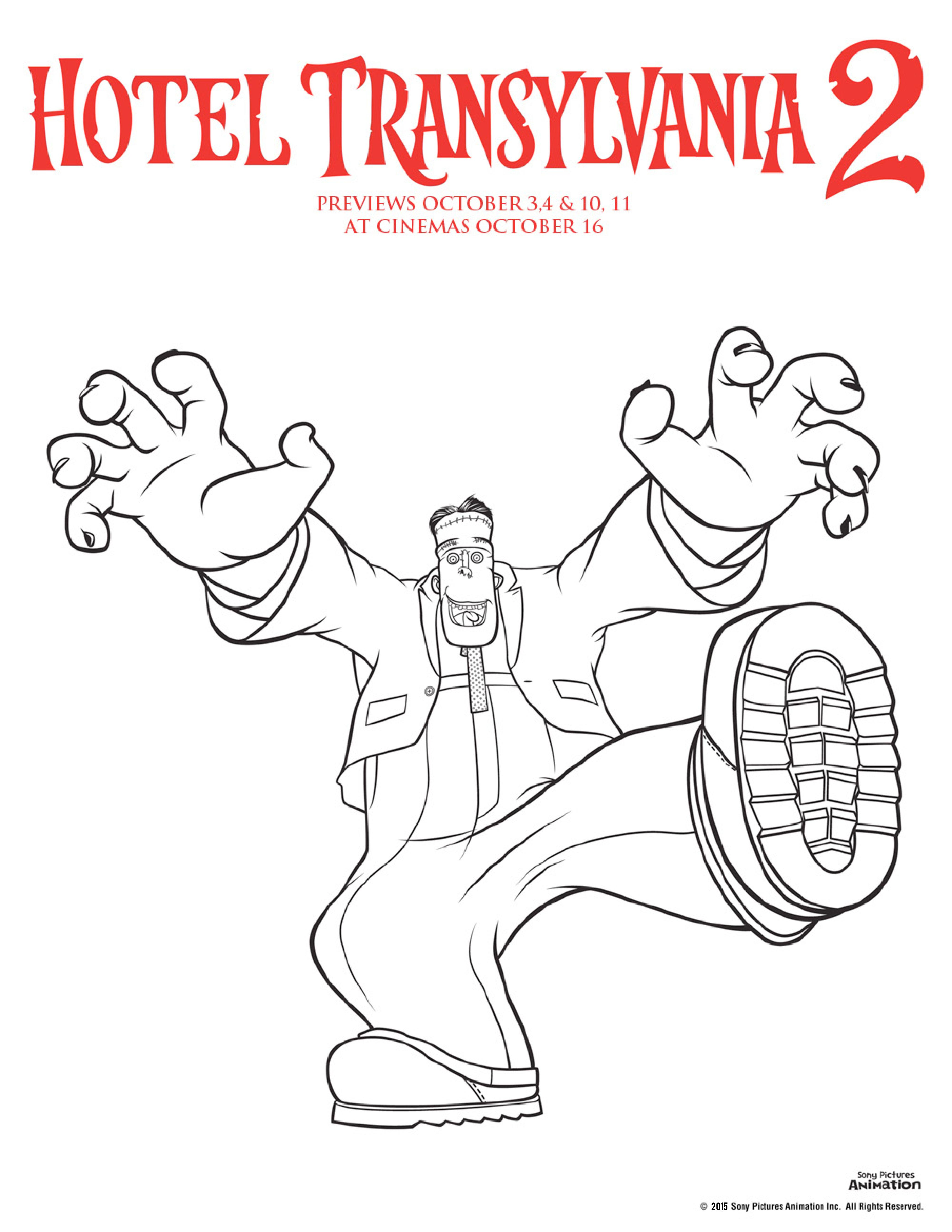 Hotel transylvania 2 colouring pages frankenstein colouring sheet, perfect for Halloween