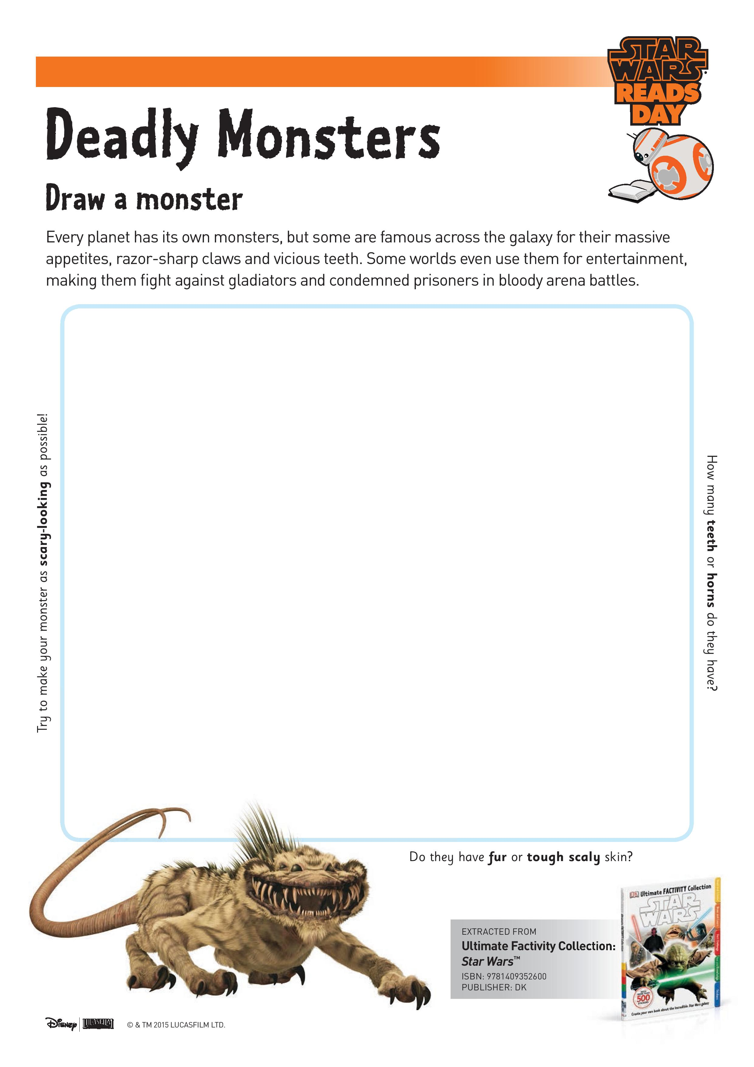 Star Wars Deadly Monsters Drawing Sheet printable