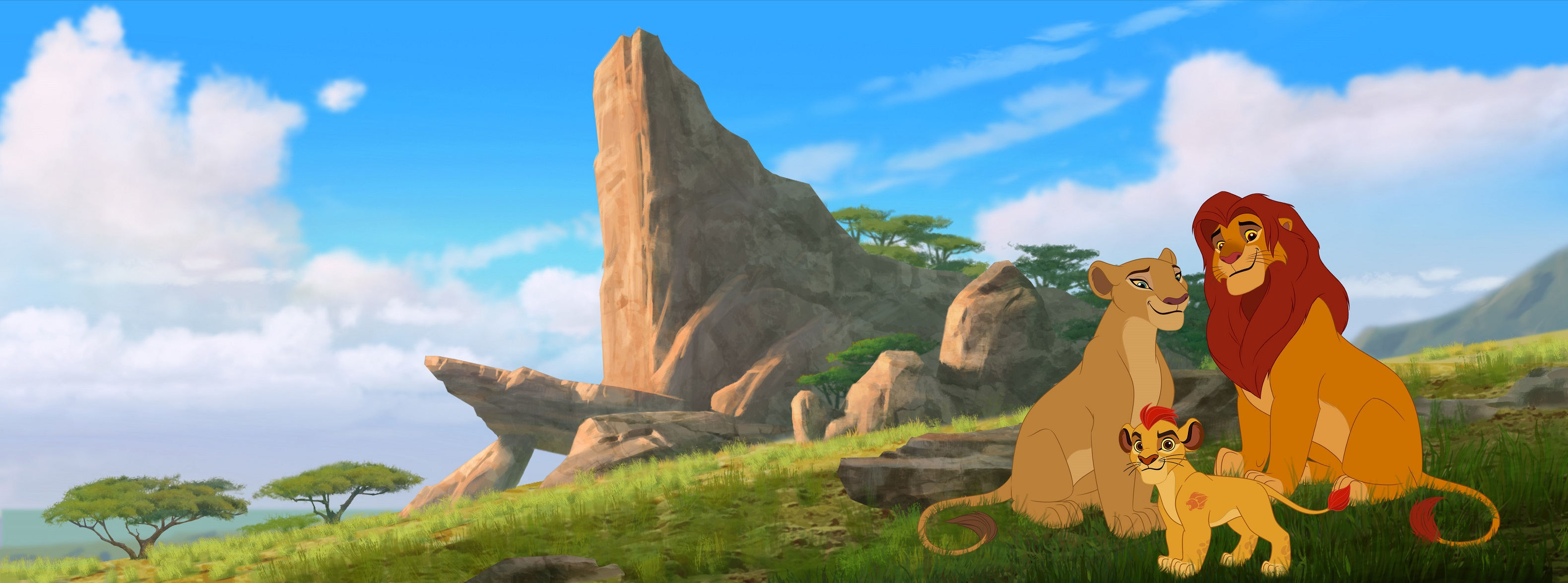 """THE LION GUARD - The epic storytelling of Disney's """"The Lion King"""" continues with """"The Lion Guard: Return of the Roar,"""" a primetime television movie event starring Rob Lowe, Gabrielle Union and James Earl Jones, reprising his iconic role as Mufasa. Premiering this November on Disney Channel, the movie follows Kion, the second-born cub of Simba and Nala, as he assumes the role of leader of the Lion Guard, a team of animals tasked with preserving the Pride Lands. """"The Lion Guard"""" television series will premiere in early 2016 on Disney Channels and Disney Junior channels around the globe. (Disney Junior) NALA, KION, SIMBA"""