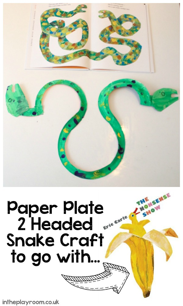 Two headed snake paper plate craft to go along with The Nonsense Show by Eric Carle