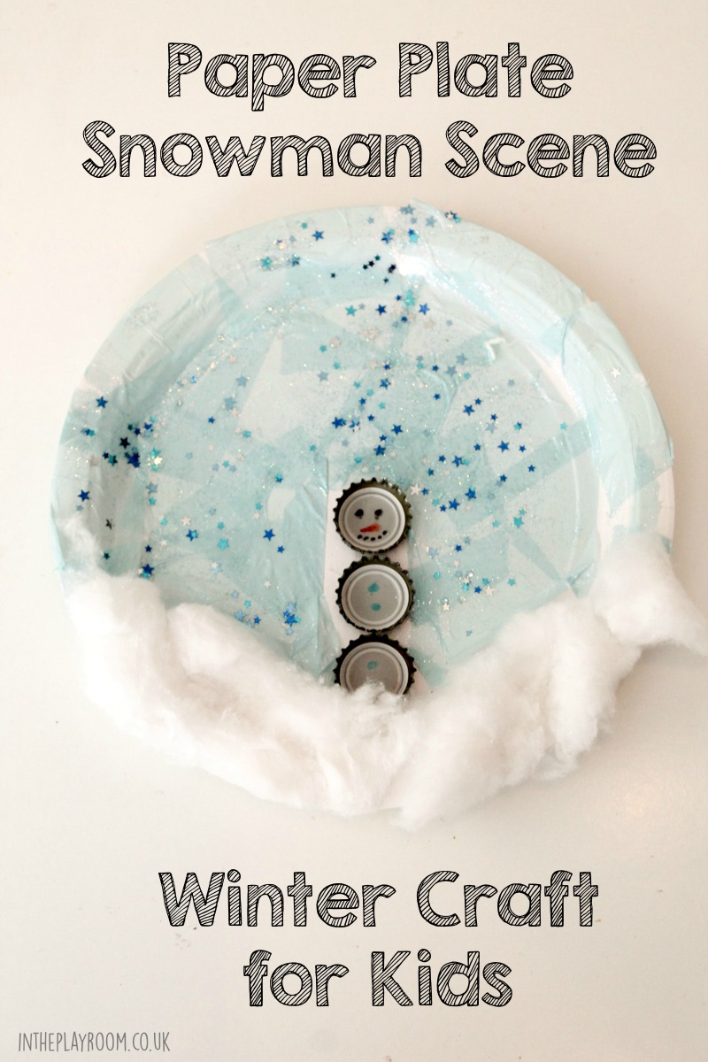 Paper plate snowman craft using recycled bottle tops
