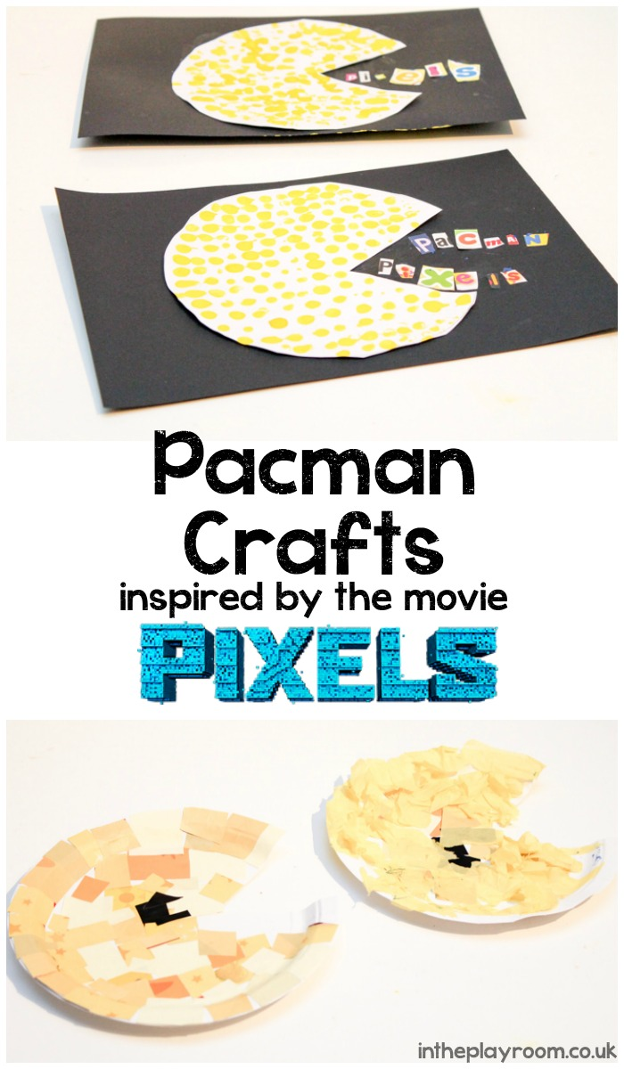 Pacman crafts inspired by the movie pixels. Paper plate mosaic pac man and dotty stamped Pacman