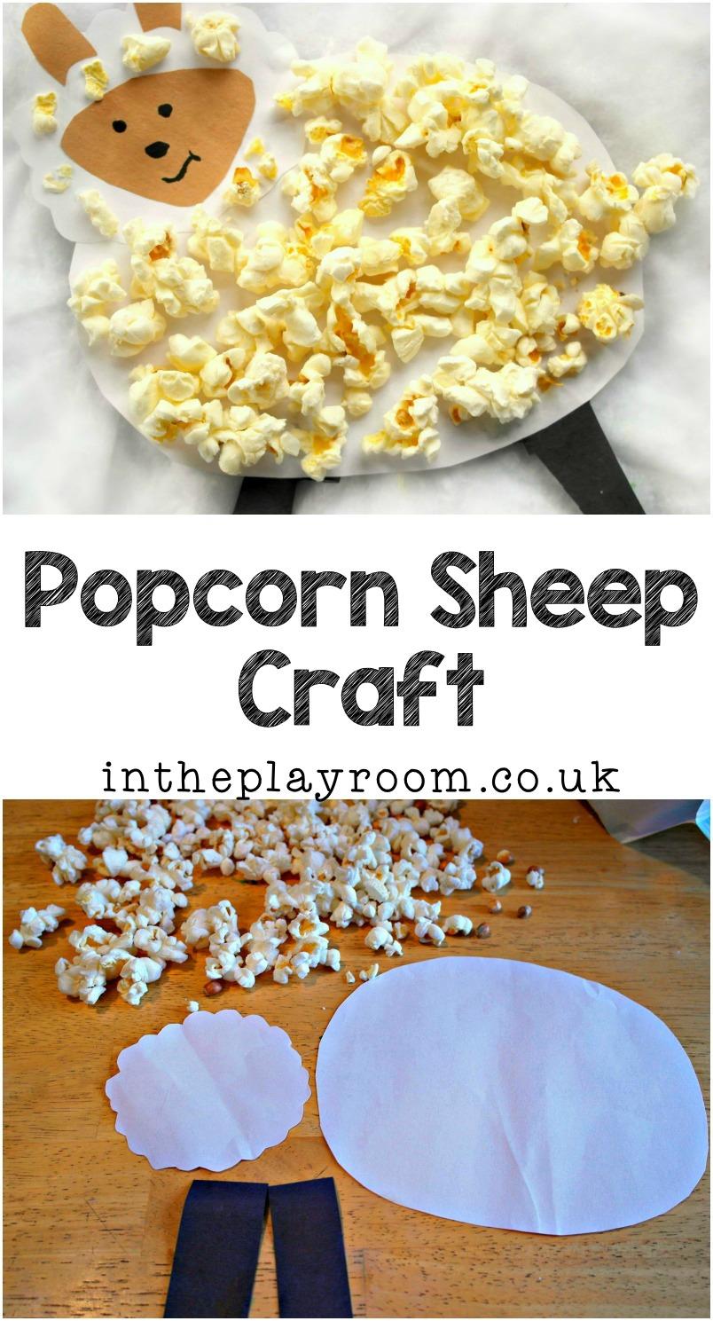 popcorn sheep or lamb craft for kids