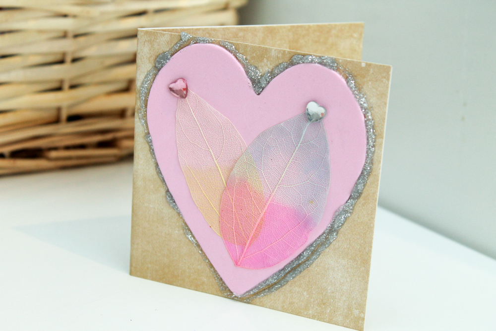 valentines card with craft leaves