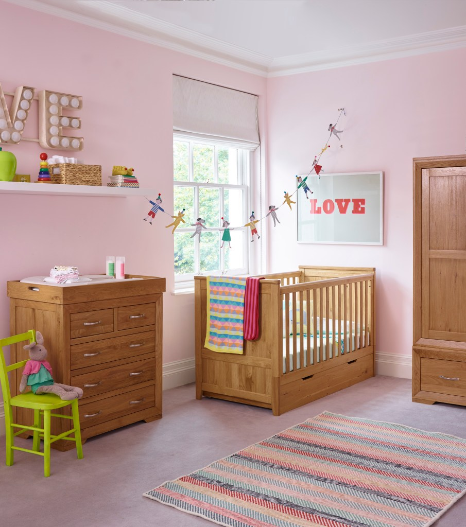 oak furniture land wooden nursery furniture in this gorgeous pink baby girl nursery