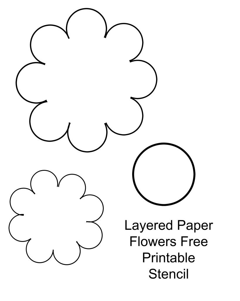 Layered paper flowers free printable stencil