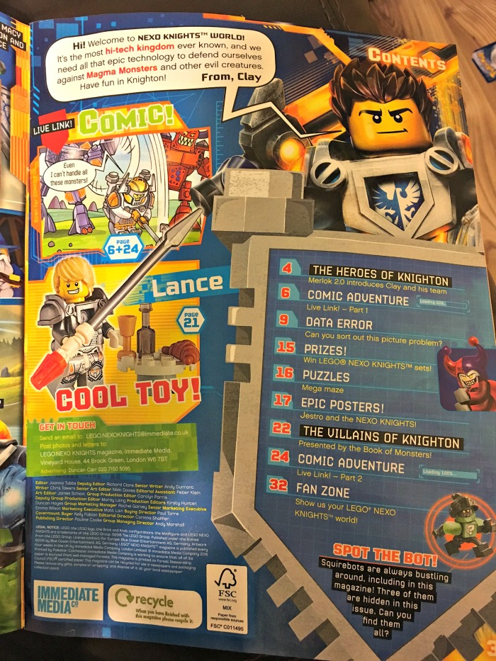 LEGO® NEXO KNIGHTS™ Magazine contents page