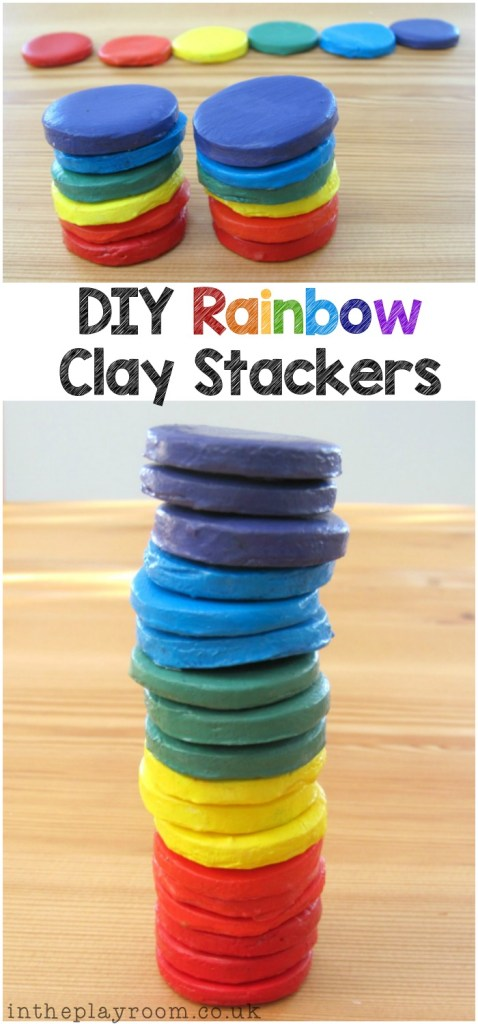 rainbow clay stackers diy toy for children