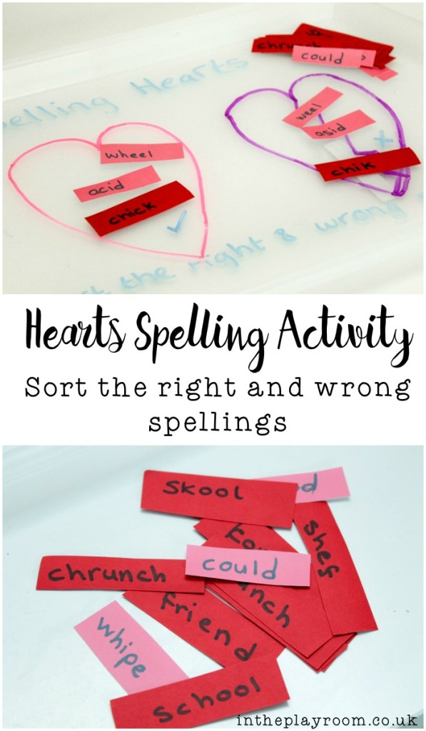 Valentines and hearts themed spelling activity. Sorting the right and wrong spellings of words, to make a fun game for spelling practice