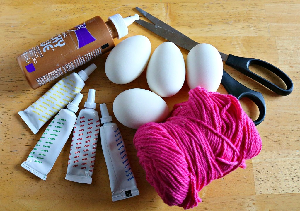 supplies for string art easter egg dyeing