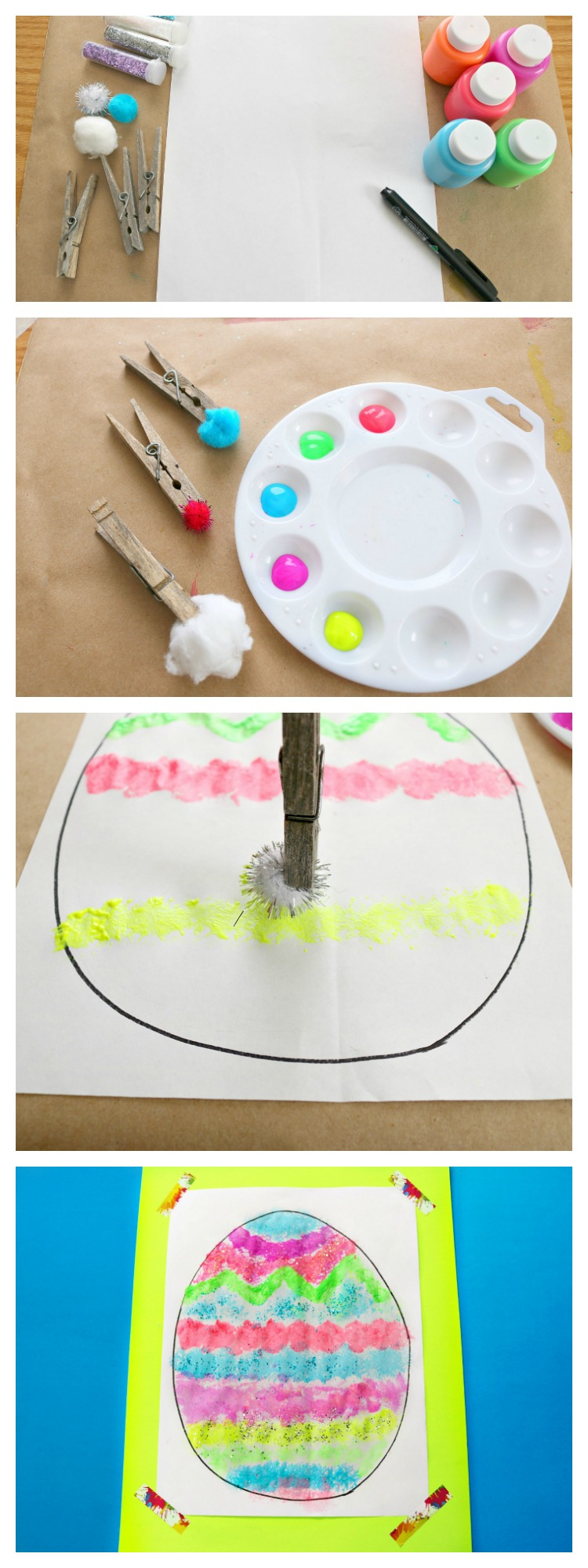 pom pom and clothes pin painting fine motor activity for easter