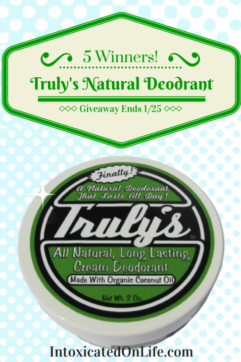 5 People have the chance to try out Truly's Natural Deodorant! A fantastic alternative to chemical-based deodorants.