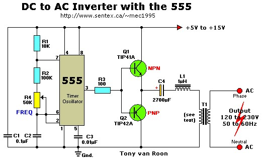 12VDC to 220VAC Inverter with 555 Timer