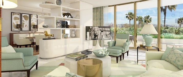Rendering of guest room in the Waldorf Astoria Beverly Hills