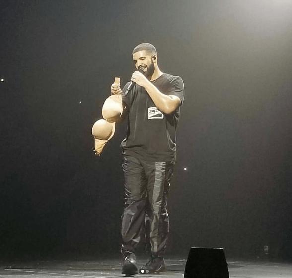 fan throws her bra at drake during concert