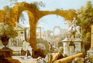 Marco Ricci (1676-1730), Capriccio con rovine romane