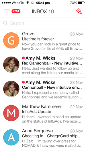 myMail home iPhone