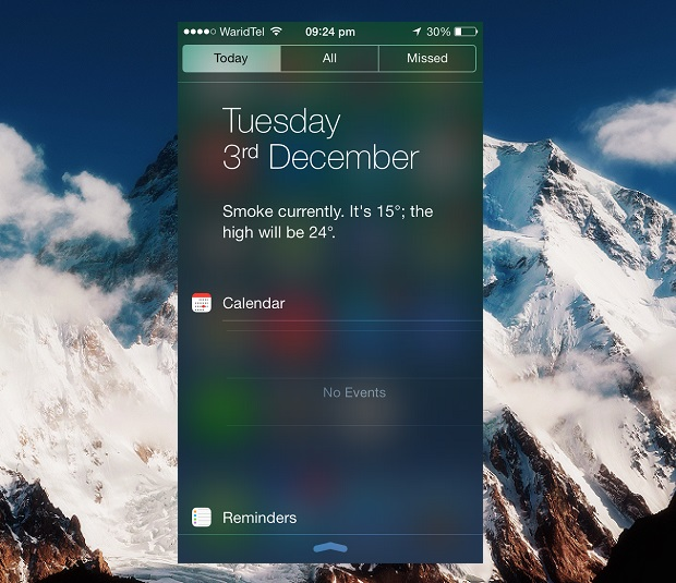 notification center iOS 7 weather