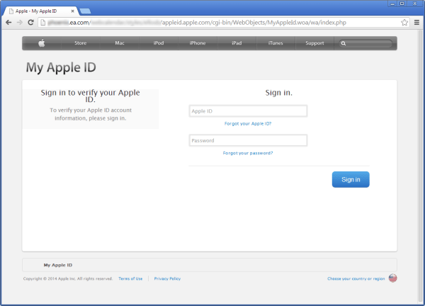 EA fake apple page hack